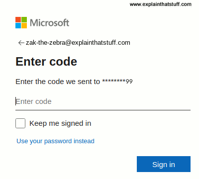 Signing into Outlook with a one-time cellphone code.