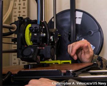 Closeup of a US Navy 3D-printer.