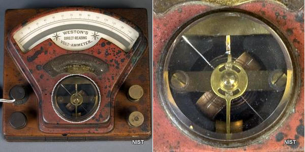 Moving-coil, volt-ammeter by Edward Weston from around 1890. NIST photo.