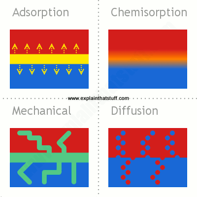 Four theories of how things stick through adsorption, chemisorption, mechanical attachment, and diffusion.