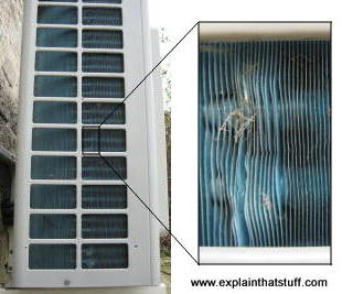Daikin air conditioner: side view and closeup of heat dissipating metal plates