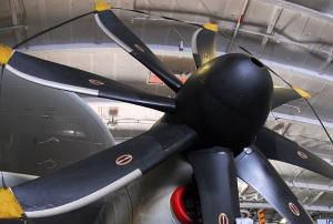 An airplane propeller showing how the blades are twisted and make an angle to the hub.