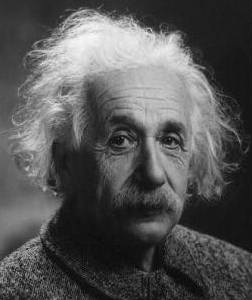 Albert Einstein in later life with white frizzy hair