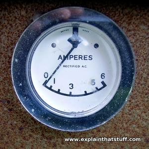 A moving coil meter with a pointer dial showing amps.