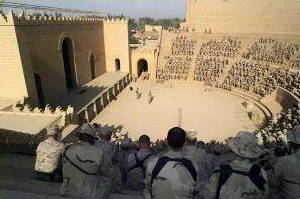 US marines sitting in an amphitheater in Iraq
