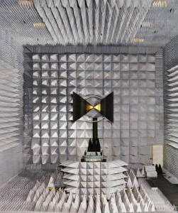 Testing an antenna in a NASA anechoic chamber.