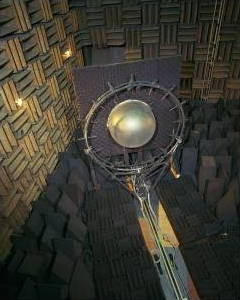 Engine fan noise test in a NASA anechoic chamber.