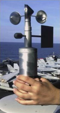 Anemometer being used onboard a ship