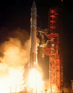 An Intelsat V spacecraft launches aboard Atlas Centaur 55 in 1981.