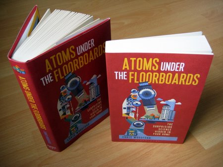 Atoms under the floorboards hardback and paperback book covers.