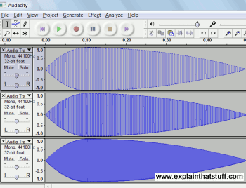 Audacity synthesizer creating three square waves