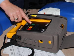 Defibrillators are simple to use, with spoken instructions and push-button controls.
