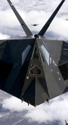 A B2 stealth plane photographed from above