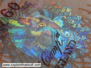 Banknote hologram on 10 pound UK note