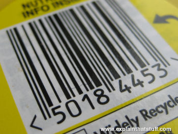 Barcode on a yellow label background