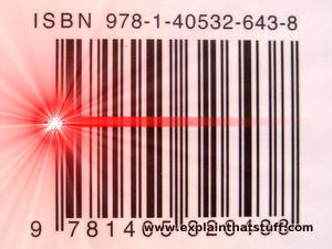 Simulated image of a typical barcode being scanned by a red laser.