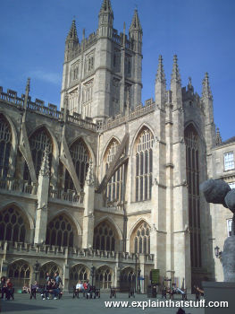 Bath, Abbey England with a bright blue sky in the background