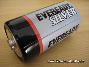 A typical 1.5-volt, dry cell, zinc-carbon Ever Ready battery.