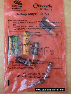 A battery recycling bag makes it easy to collect and recycle used batteries