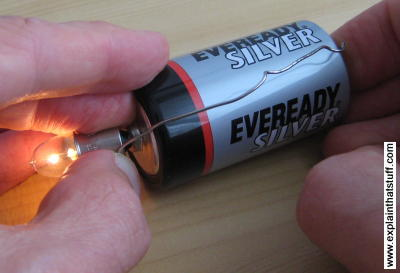 Putting a battery into a simple circuit with a flashlight bulb