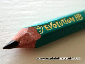 A Bic Evolution HB pencil made from 57 percent recycled plastic instead of wood.
