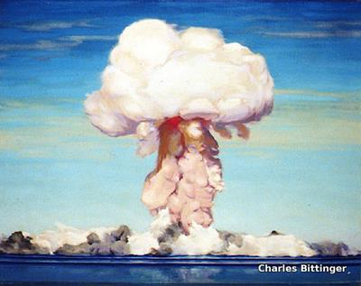 Oil painting of the mushroom cloud in a nuclear explosion at Bikini Atoll by war artist Charles Bittinger.