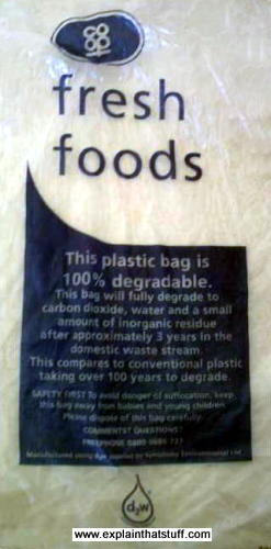 A d2w biodegradable plastic bag from the Coop food store in the UK.