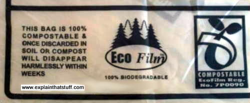 A biodegradable plastic bag made from Eco Film.