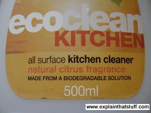 Example of a vague eco label, with the undefined word 'biodegradable'.