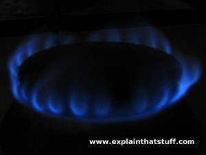 Blue flame of a natural gas cooker