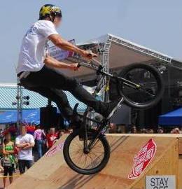 BMX rider on a ramp.