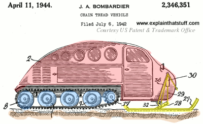 side view of the early bombardier snowmobile from april 11, 1944