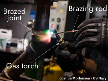 Brazing a metal joint. Photo shows the joint, the gas torch, and the brazing rod.