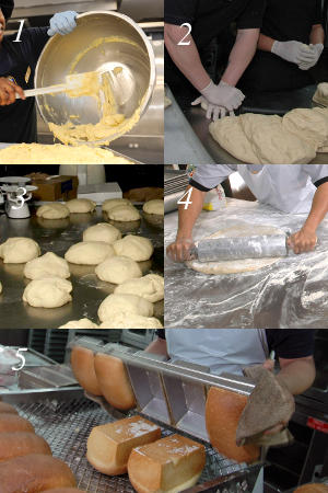 The five stages of making bread: 1) Mixing; 2) Kneading; 3) Rising; 4) Knocking down and proving; 5) Baking.