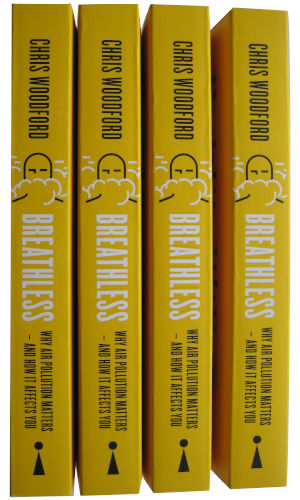 Breathless by Chris Woodford book spines.
