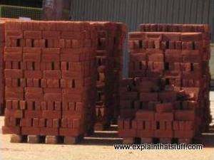 Newly made bricks at a brickworks.