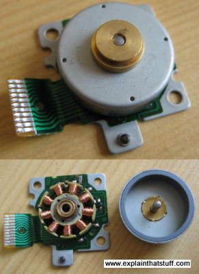 Top: Photo showing the outer case of a brushless DC motor or BLDC. Bottom: Photo showing the inside, inner component parts of the same motor.