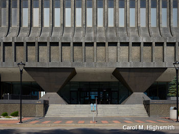 Brutalist concrete entrance foyer of the 30-story Xerox Tower building in Rochester, New York by Carol M. Highsmith.