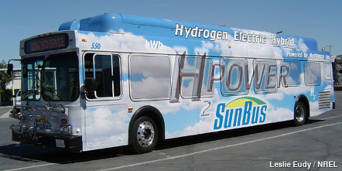 Silver-colored hydrogen fuel-cell hybrid bus