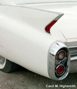 Tail lights and fins on a classic 1960s white Cadillac, by Carol M. Highsmith