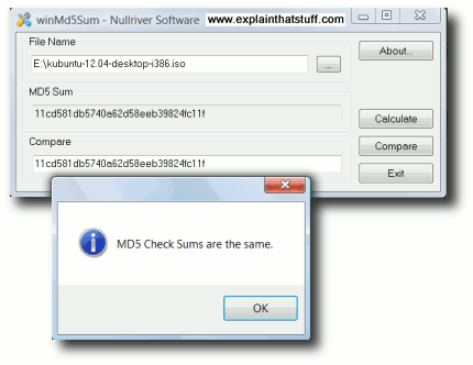 Using MD5 hash code to check the integrity of a downloaded file.