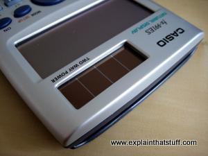 Solar photovoltaic cell on a pocket calculator