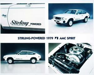 Four photos showing the 1979 AMC Spirit powered by a Stirling engine