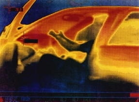 Photo: Infrared thermal image showing the heat inside a car.