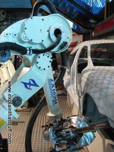 Industrial robot arm welding a Jaguar car
