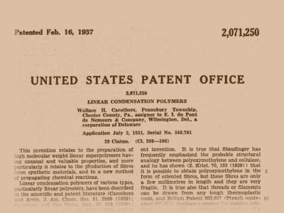 The front page of Wallace Carothers nylon patent 2,071,250