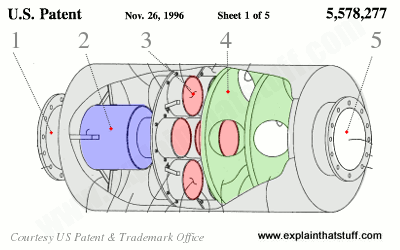 Large-scale Caterpillar diesel engine catalytic converter from US Patent US5578277A.
