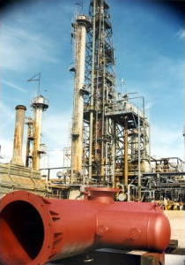 Photo of catalytic cracker in petroleum refinery.