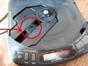 Context photo showing, with an arrow, where the laser diode is in a CD player.