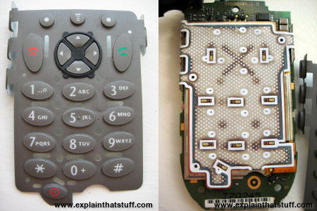 Membrane keyboard on a Motorola V66 phone